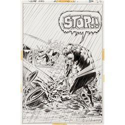 Bernie Wrightson signed original Swamp Thing #1 interior splash page.