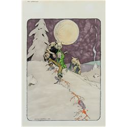 Bernie Wrightson signed original published painting from The Monsters: Color the Creature Book.