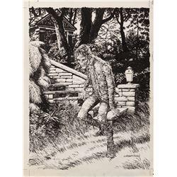 Bernie Wrightson signed original cover illustration for the Gardens of the Dead portfolio.