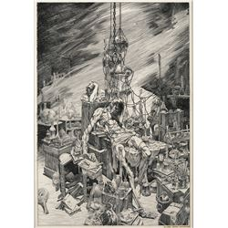 Bernie Wrightson signed original Frankenstein plate published in The Lost Frankenstein Pages.