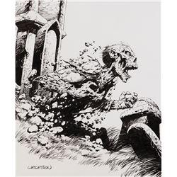 Bernie Wrightson signed original zombie t-shirt illustration.