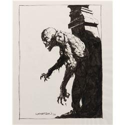 "Bernie Wrightson signed ""Jailhouse Appetite"" illustration for the Gardens of the Dead portfolio."