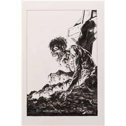 """Bernie Wrightson signed original """"Unmarked"""" illustration for the Gardens of the Dead portfolio."""
