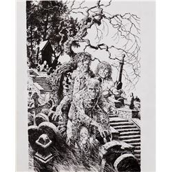 Bernie Wrightson signed original zombie trio illustration.