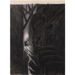 "Bernie Wrightson signed original ""The Cask of Amontillado"" charcoal rough for The Poe Portfolio."