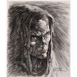 """Bernie Wrightson signed original """"Frankenstein's Monster"""" illustration."""