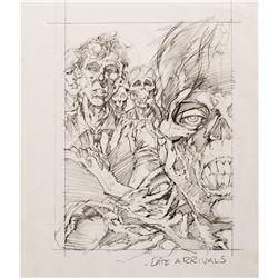 "Bernie Wrightson original ""Late Arrivals"" pencil rough trading card artwork."