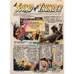 """Kenneth Smith hand-colored acetate print of the EC Comics adaptation of """"A Sound of Thunder"""" signed."""