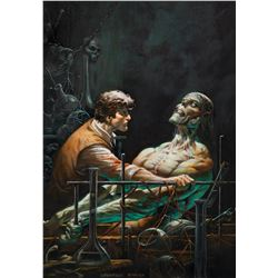 """Bernie Wrightson """"Victor Frankenstein"""" and """"Monster"""" print hand colored by Greg Staples."""
