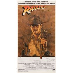 Raiders of the Lost Ark 3-sheet poster signed and inscribed by Steven Spielberg to Frank Darabont.