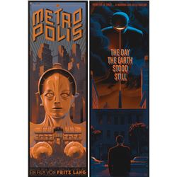 Metropolis and The Day the Earth Stood Still (2) insert-style silkscreen Mondo posters by Laurent Du
