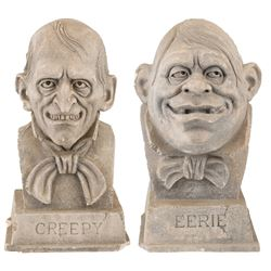 """""""Uncle Creepy"""" and """"Cousin Eerie"""" (2) busts of the Warren horror comics hosts by Norman Cabrera."""