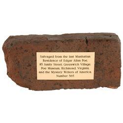 Original brick from Edgar Allan Poe's last residence in Manhattan.
