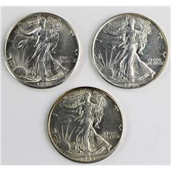3-WALKING LIBERTY HALF DOLLARS