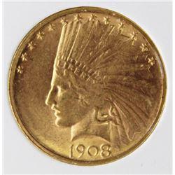1908-D NO MOTTO $10 GOLD