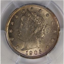 1905 LIBERTY NICKEL PCGS AU 58