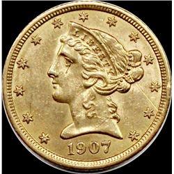 1907 $5.00 GOLD