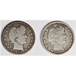 1893-S AND 1894 BARBER QUARTERS