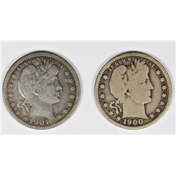 1900-S AND 1901 BARBER QUARTERS