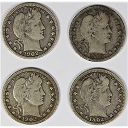GROUP OF FOUR BARBER QUARTERS