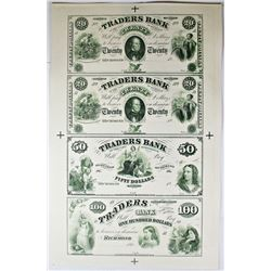 1860'S VIRGINIA TRADERS BANK PROOF SHEET