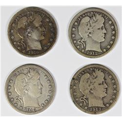 GROUP OF 4 BARBER QUARTERS