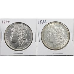 1880 & 1882 MORGAN SILVER DOLLARS