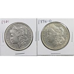 1896-O AND 1901 MORGAN SILVER DOLLARS