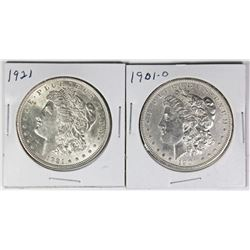 1901-O AND 1921 MORGAN SILVER DOLLARS