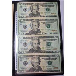 RARE! WORLD RESERVE UNCUT SHEET OF 4- $20