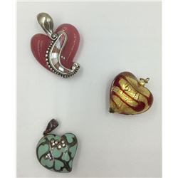 MISC. LOT OF HEART PENDANTS