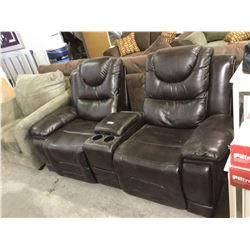Brown Leather Reclining Love Seat