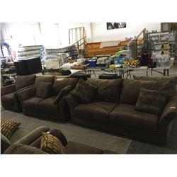"NEW MICROFIBER ""Choco"" Sofa, Love Seat and Chair Set w/ Throw Pillows"