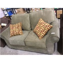 NEW microfiber Smith-Sage Sofa and Love Seat Set w/ Throw Pillows(love seat is shown, sofa is still