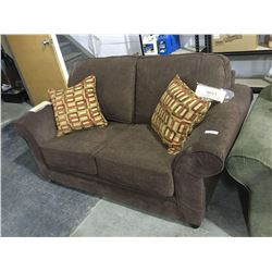 NEW Chocolate Sofa and Love Seat Set w/ Throw Pillows(love seat is shown, sofa is still wrapped in p