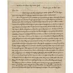 Adams, John Quincy. Extraordinary autograph letter signed, Washington, 8 December 1832.