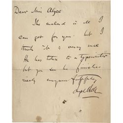 Bell, Joseph. Rare autograph letter signed.
