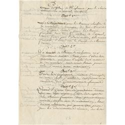 [Bonaparte, Napoleon]. Pair of manuscript documents for articles (ca. 1797).