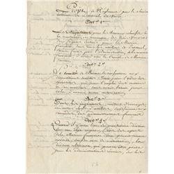 [Bonaparte, Napoleon]. Pair of manuscript documents for articles (ca. 1797).