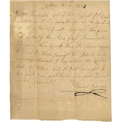 "Boone, Daniel. Excessively rare autograph letter signed ""Daniel Boone), 6 May 1803."