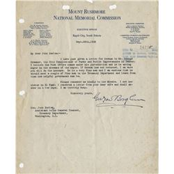 Borglum, Gutzon. (8) Important typed letters signed, regarding the Mount Rushmore project.