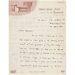 Capote, Truman. Autograph letter signed, 22 April 1963, Brooklyn, New York.