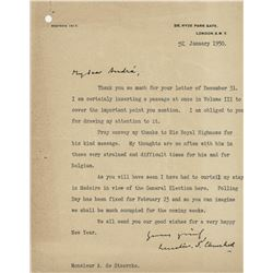 Churchill, Winston S. Typed letter signed , 22 January 1950.