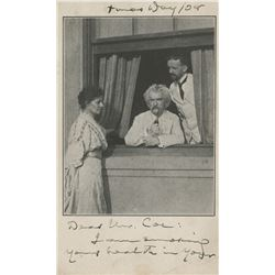 "Clemens, Samuel L. ""Mark Twain"". Autograph letter signed on photograph postcard."