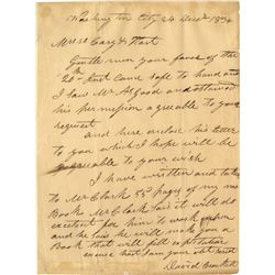 "Crockett, David ""Davy"". Extremely rare autograph letter signed, December 24, 1834."