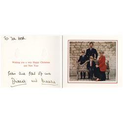 Princess Diana & Prince Charles. Royal Christmas card signed.
