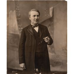 Edison, Thomas Alva. Monumental signed presentation photograph dated 18 December 1892.
