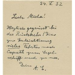 Einstein, Albert. Autograph letter signed, 24 May 1932.