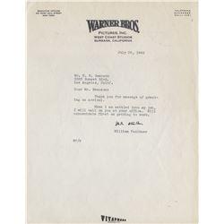 Faulkner, William. Typed letter signed, on Warner Bros. letterhead stationery, 28 July 1942.