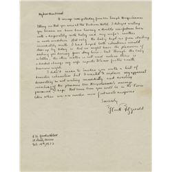 Fitzgerald, F. Scott. Autograph letter signed , 15 February 1922.